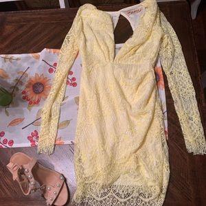 Yellow lace longsleeve dress